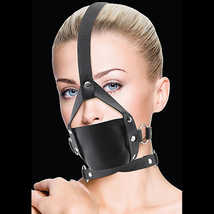 Черный кляп Leather Mouth Black OUCH!