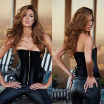 Корсет Suede and Leather Corset, черный - XL
