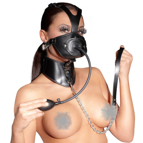 Набор для БДСМ игры  Leather Head Mask and Gag, черный